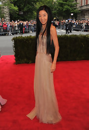 Vera Wang looked rather demure on the Met red carpet in this nude tulle gown.