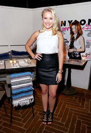 Emily Osment injected an extra dose of edge with a pair of black lace-up gladiator heels.