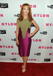 Kathy dons a color blocked purple and nude cocktail dress for the Nylon Magazine Young Hollywood celebration.