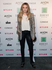 Ashley Tisdale looked like a rock star in her leopard-print blazer and leather pants combo at the Nylon Nights Los Angeles.