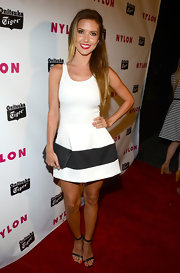 Audrina Patridge chose a classic white frock with a big and bold black stripe for an added design detail.