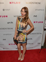 Natalie Dreyfuss chose this bold and fun comic book print dress for her red carpet look at Nylon's Young Hollywood Event.