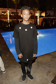 Jaden Smith looked a little bizarre in a long black-and-white T-shirt layered over a sweater at the celebration of Nylon's Young Hollywood Issue.