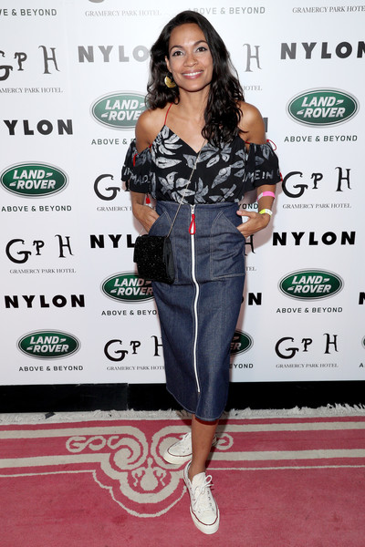 More Pics of Rosario Dawson Print Blouse (2 of 4) - Tops Lookbook - StyleBistro [rebel fashion party,nylon,land rover,clothing,shoulder,red carpet,carpet,hairstyle,joint,fashion,dress,footwear,premiere,gramercy park hotel,gramercy terrace,new york city,rosario dawson]
