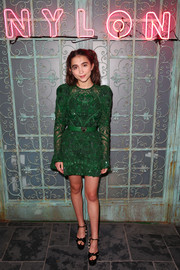 Rowan Blanchard paired her dress with black knot-detail platform sandals.