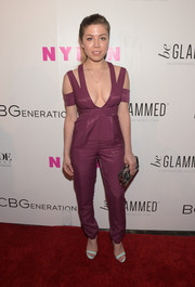 Jennette McCurdy sizzled in a cleavage-baring purple StyleStalker jumpsuit at the Nylon Young Hollywood Party.