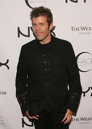 In one of his more elegant moments, Perez Hilton wore a handsome black military jacket to the Nyx Cosmetics Face Awards.