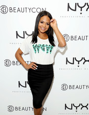 Christina Milian dressed up her casual tee with a classic black pencil skirt.
