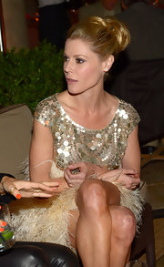 Julie Bowen swept her glossy tresses up into a loose bun while attending a private dinner hosted by Naeem Khan.