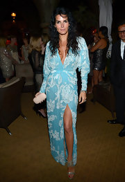 Angie Harmon arrived at a private dinner party wearing sexy silver beaded sandals.