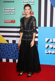 Arizona Muse looked regal in a black beaded-bodice gown by Temperley London at the Naked Heart Foundation's Fabulous Fund Fair.
