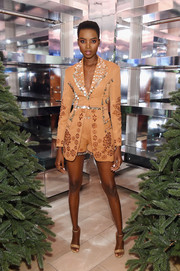 Maria Borges looked playfully chic in an embellished short suit at the 'Close Your Eyes and Think of Christmas' event.