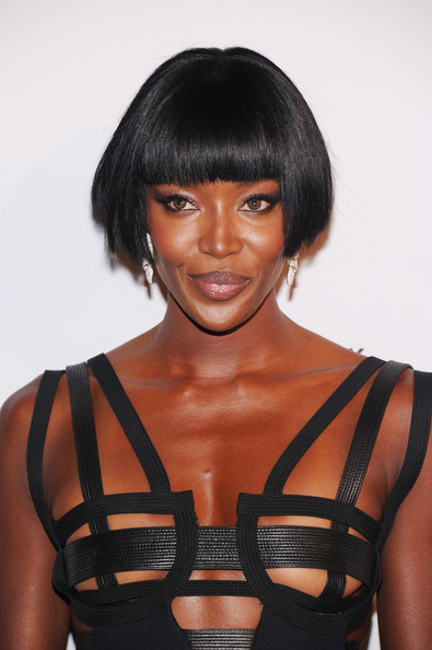 Naomi Campbell Bob [hair,hairstyle,black hair,beauty,fashion,shoulder,bob cut,bangs,lace wig,model,arrivals,naomi campbell,new york city,capitale,novak djokovic foundation new york,dinner]