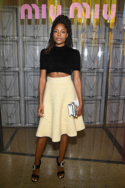Naomie Harris Evening Sandals [fashion model,fashion,shoulder,flooring,leg,girl,shoe,joint,pattern,long hair,naomie harris,miu miu,front row,part,paris,france,paris fashion week womenswear spring]