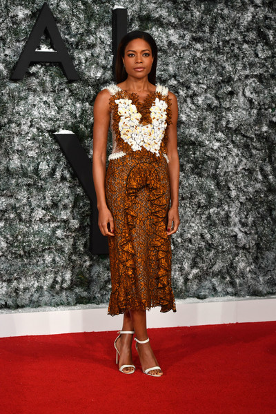 Naomie Harris Strappy Sandals [fashion model,flooring,carpet,fashion,dress,catwalk,red carpet,runway,fashion show,cocktail dress,red carpet arrivals,naomie harris,ben stansall,collateral beauty,red carpet,european,british,premiere,arrival,premiere]