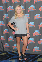 Nastia Liukin donned a pair of leather cutout boots at Planet Hollywood.