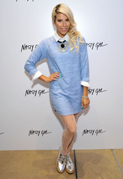 Vali kept it breezy with this pastel-blue sweater dress at the Nasty Gal Melrose store launch.