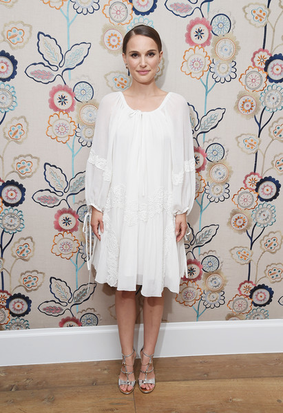 Natalie Portman Long-Sleeved Shift Dress [a tale of love darkness,clothing,white,dress,fashion,footwear,pattern,cocktail dress,fashion design,sleeve,shoe,natalie portman,actress,new york,crosby street hotel,party,party,new york premiere,premiere]