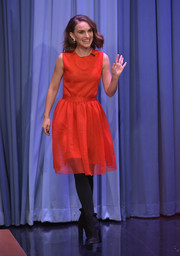Natalie Portman looked darling in a sleeveless red fit-and-flare dress by Dior while visiting 'Jimmy Fallon.'