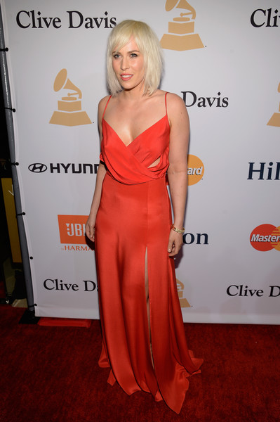 Natasha Bedingfield Cutout Dress [clothing,dress,shoulder,red carpet,carpet,red,hairstyle,gown,cocktail dress,blond,irving azoff,natasha bedingfield,arrivals,salute to industry icons,beverly hills,california,the beverly hilton hotel,pre-grammy gala]