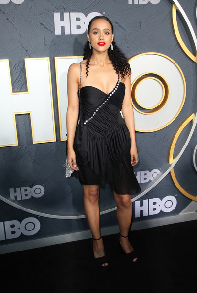 Nathalie Emmanuel One Shoulder Dress [clothing,dress,cocktail dress,shoulder,little black dress,fashion model,hairstyle,fashion,joint,leg,arrivals,nathalie emmanuel,post emmy awards,the plaza,los angeles,california,pacific design center,hbo,reception,post emmy awards reception]