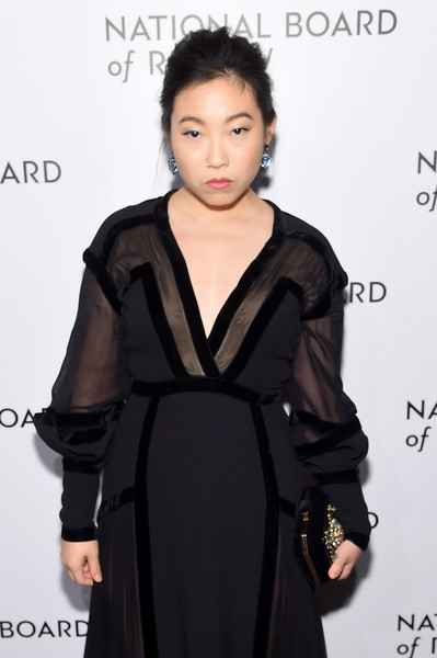 More Pics of Awkwafina Dangling Gemstone Earrings (4 of 19) - Dangle Earrings Lookbook - StyleBistro [hair,clothing,hairstyle,fashion model,dress,black hair,little black dress,fashion,shoulder,neck,arrivals,awkwafina,new york city,cipriani 42nd street,national board of review annual awards gala,national board of review annual awards gala]