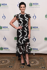 Jaimie Alexander looked chic and ladylike in a black-and-white lace dress by Christian Siriano at the National Eating Disorder Association benefit gala.