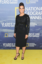 America Ferrera made an ultra-sophisticated choice with this beaded LBD by Jenny Packham for the new season premiere of 'Years of Living Dangerously.'