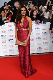 Posing outside the 2012 National Television Awards in London, Shobna Gulati made an eye-catching turn on the red carpet in this ruby red evening gown.