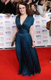Sophie McShera looked romantic at the National Television Awards in a sea blue chiffon gown.