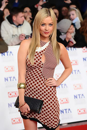 Laura Whitmore pulled her look chic together with a gold cuff bracelet.