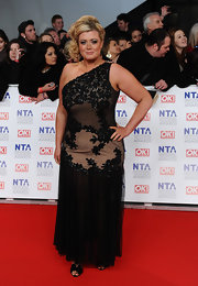 Gemma Collins wore a single-shouldered black evening dress to the National Television Awards.