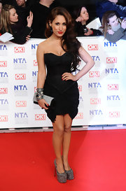 Preeya Kalidas wore this black strapless corset dress to the National Television Awards.