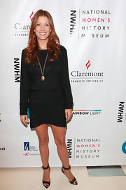 Kate Walsh polished off her sheer style at the National Women's History Museum Cocktail Party with these patent ankle-strap sandals.