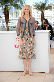 Laura Dern paired her lovely floral frock with this fitted box-shaped jacket with leather trim for a cool mix of textures.