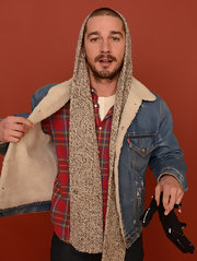 Shia LaBeouf paired a knit scarf with his fur-lined denim jacket for extra warmth during the 2013 Sundance Film festival.