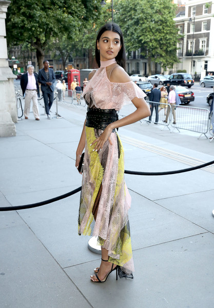 Neelam Gill Lace Dress [clothing,street fashion,fashion,dress,yellow,beauty,lady,snapshot,shoulder,fashion design,arrivals,neelam gill,london,england,v a,summer party,summer party]