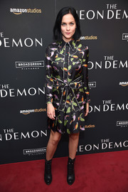 Leigh Lezark donned a long-sleeve printed shirtdress for the New York premiere of 'The Neon Demon.