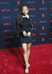Logan Browning showed plenty of leg in a ruffled mini shirtdress at the Netflix FYSEE kickoff event.