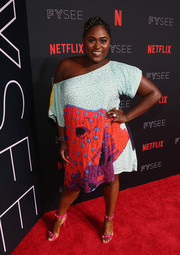 Danielle Brooks went all out with the colors, pairing her dress with hot-pink beaded sandals.