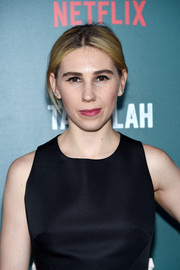 Zosia Mamet opted for a casual center-parted bun when she attended the special screening of 'Tallulah.'