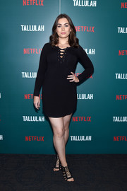 Sophie Simmons completed her well-coordinated attire with black lace-up heels.