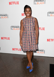 Uzo Aduba chose a multicolored fit-and-flare tweed dress for the 'Orange is the New Black' panel discussion.