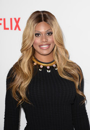 Laverne Cox attended the 'Orange is the New Black' panel discussion wearing lovely mermaid waves.