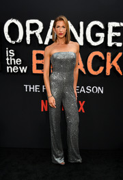 Alysia Reiner sparkled in a strapless silver jumpsuit at the premiere of 'Orange is the New Black' season 7.
