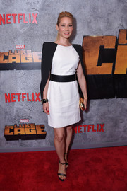 Lucy Liu paired her dress with black ankle-strap platforms.