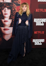 Natasha Lyonne got glam in an embellished navy maxi skirt by Ralph Lauren for the premiere of 'Russian Doll' season 1.
