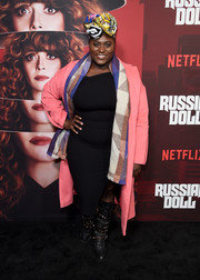Danielle Brooks teamed a pink coat with an asymmetrical LBD and a patterned scarf for the premiere of 'Russian Doll' season 1.