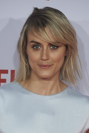 Taylor Schilling went for an edgy layered razor cut at the Netflix Spain presentation.
