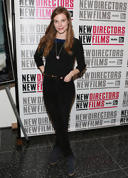 Lindsay Burdge opted for black jeans for her evening look at 'Blue Caprice.'